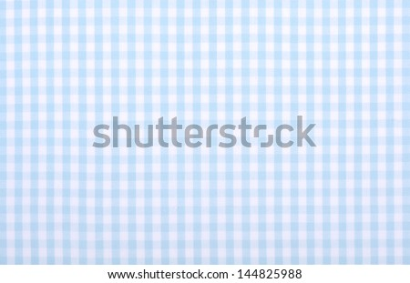 light blue checkered fabric closeup , tablecloth texture - stock photo