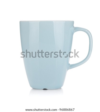 Light blue coffee cup. Isolated on white background - stock photo