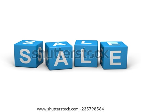 Light blue cubes with sale letters on white backgound