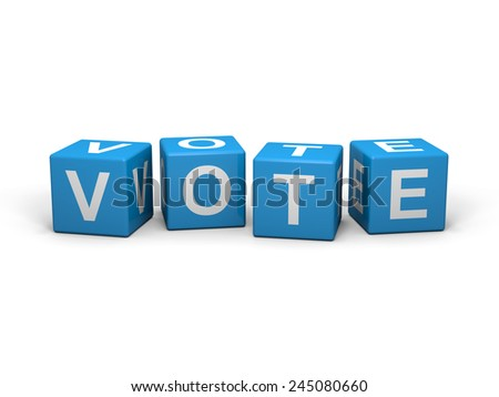 Light blue cubes with vote sign on a white background