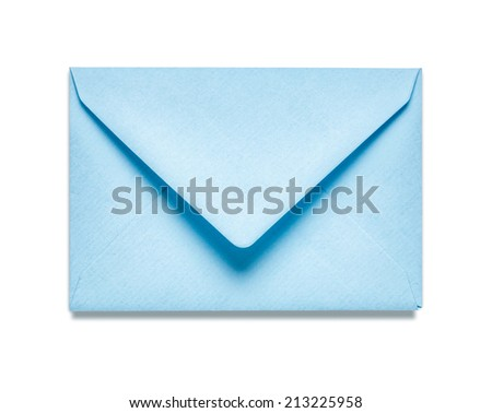 Light blue envelope isolated on white background. Object with clipping path - stock photo