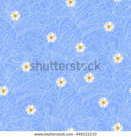 Light blue Flower daisies geometry striped seamless pattern. Wedding lacy style  - stock photo