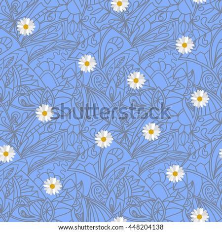 Light blue  Flower daisies geometry stripped  seamless pattern - stock photo