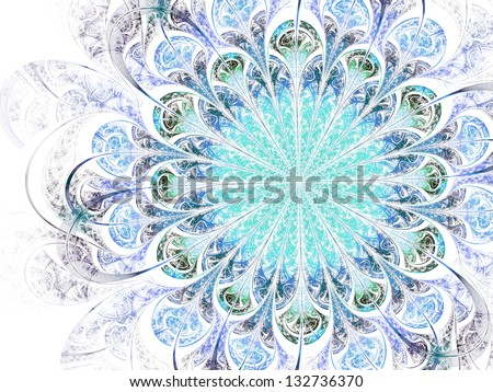 Light blue fractal flower, digital artwork for creative graphic design - stock photo
