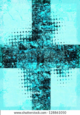 Light blue grunge cross with halftone pattern - stock photo