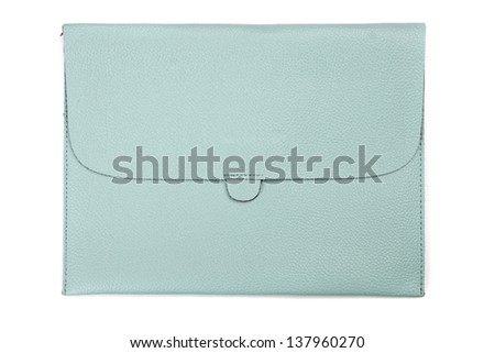 Light blue leather tablet computer bag on a white background - stock photo