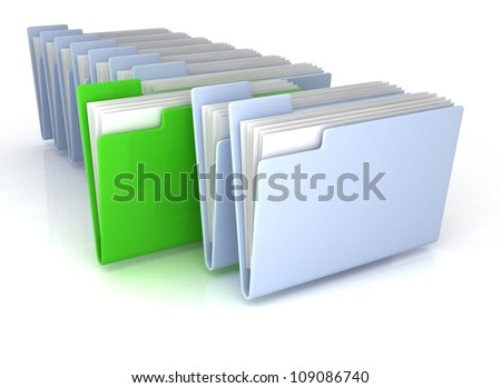 Light Blue open folders and one green with documents