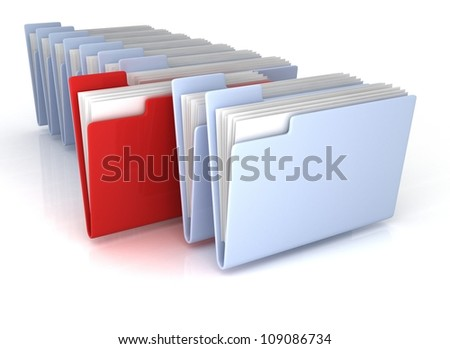 Light Blue open folders and one red with documents