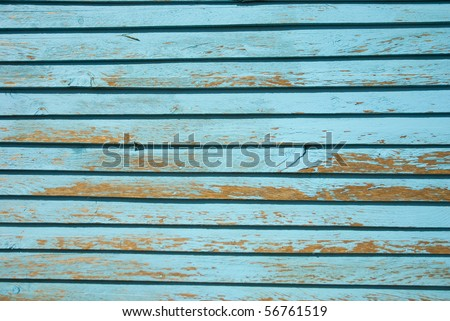 Light blue painted wood strips, filling the frame - stock photo