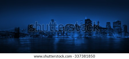 Light Blue Panorama Of New York City Concept - stock photo