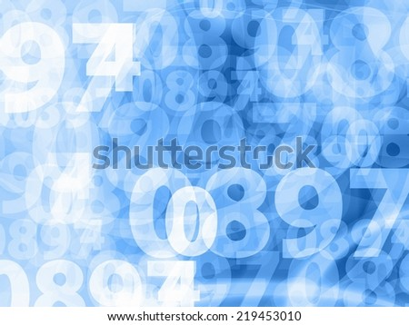 light blue random numbers background texture - stock photo