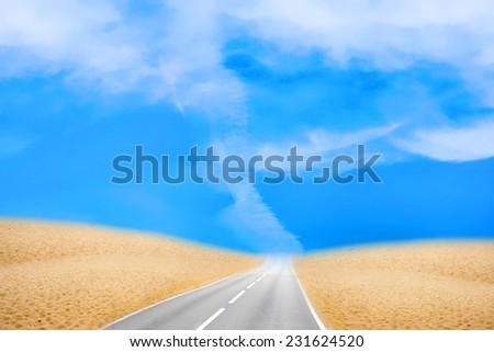 light blue shining sky on expensive in desert - stock photo