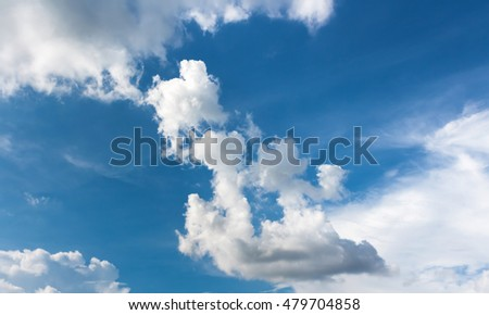 Light blue sky and bright clouds on nice day