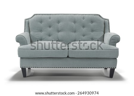 Light blue sofa, front view - stock photo