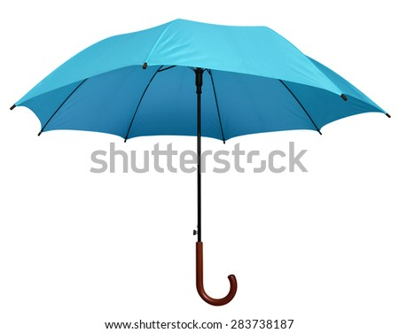 Light Blue umbrella isolated on white background. Clipping path included.