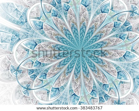 Light blue wedding themed fractal flower, digital artwork for creative graphic design