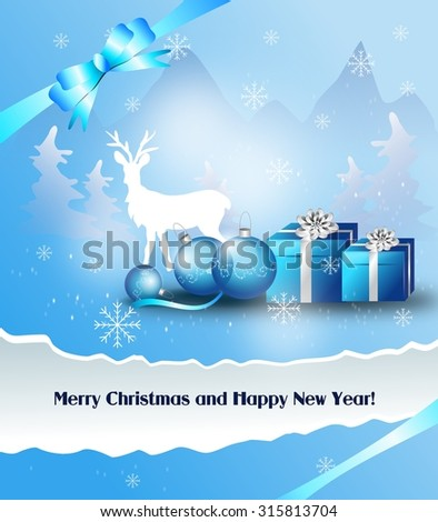 Light blue white christmas greeting card with gifts and christmas bulbs - stock photo