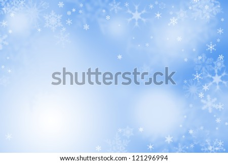 Light blue winter wallpaper with snow - stock photo