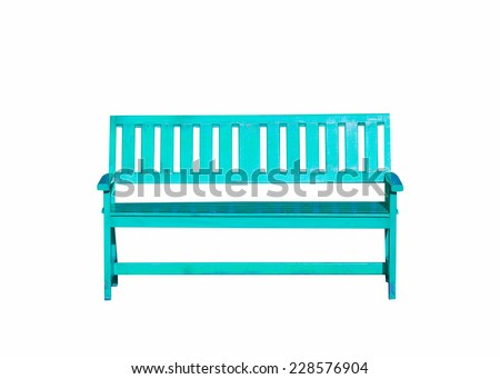 light blue wood bench isolated on white background - stock photo