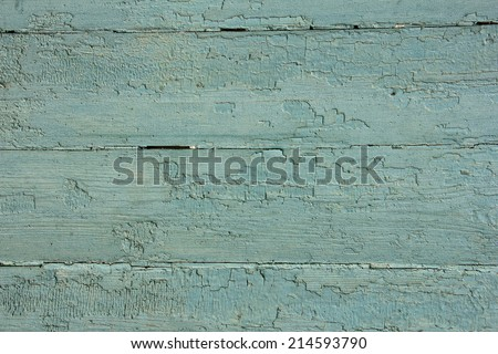 light blue wooden planks with peeling old paint, texture - stock photo