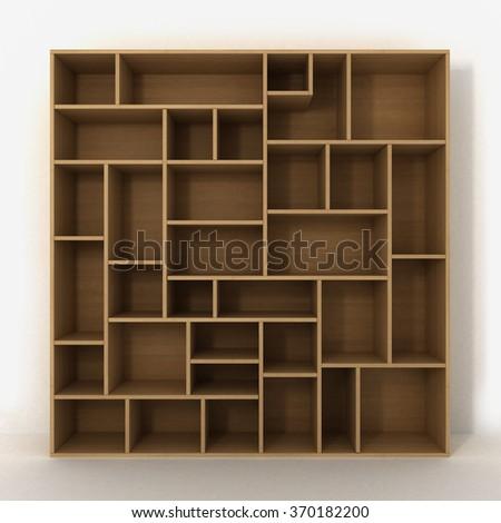 Light bookcase with shelves isolated on white background - stock photo