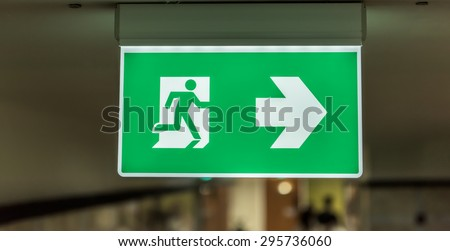 light box exit signage at celling room - stock photo