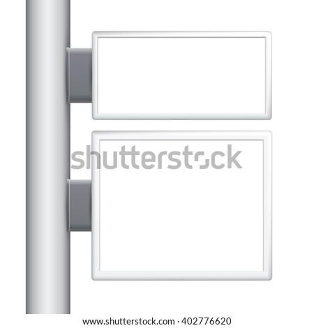 light box on a pole, template, Blank street advertising billboard - stock photo