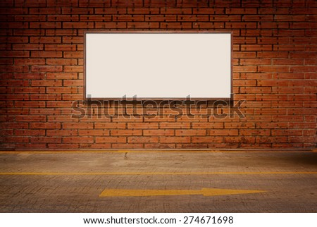 Light box or white board on brick grunge wall and street floor background - stock photo