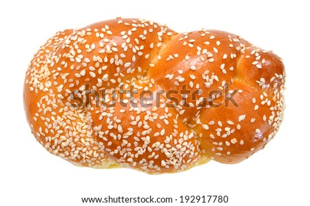 Light braided challah isolated on white background  - stock photo