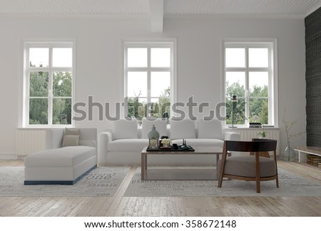 Light bright modern living room interior with three large windows above a comfortable sofa and day bed on a wooden parquet floor. 3d Rendering. - stock photo