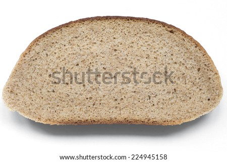 light-brown bread slice isolated on white background