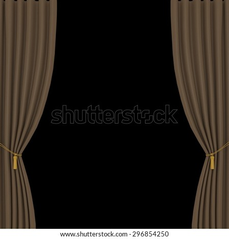 light brown curtains on black background