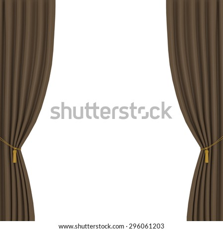 light brown curtains on white background