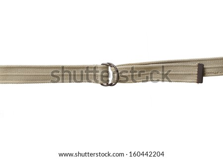 Light brown fabric canvas belt isolated on white background - stock photo