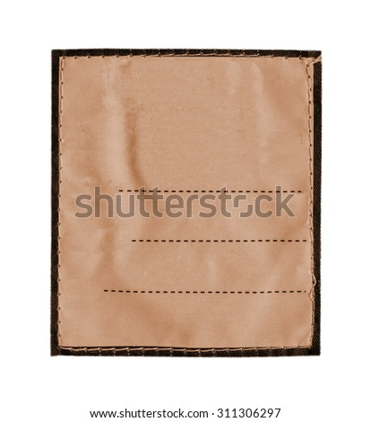 light brown fabric label with place for Your text on white