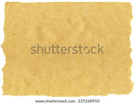 Light brown horizontal paper sheet with torn edges texture