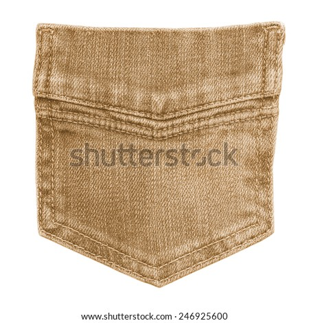 light brown jeans back pocket isolated on white