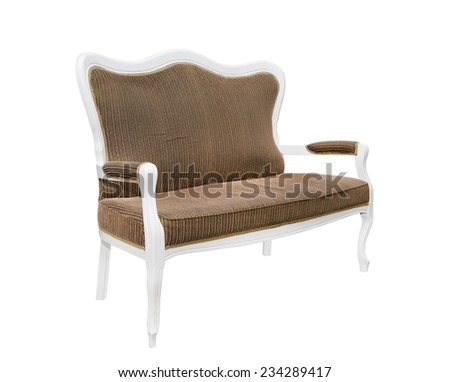light brown sofa in the style of Provence on a white background