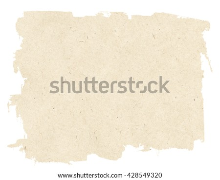 Light brown torn paper texture isolated on white background