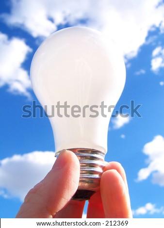 light bulb and blue sky - stock photo
