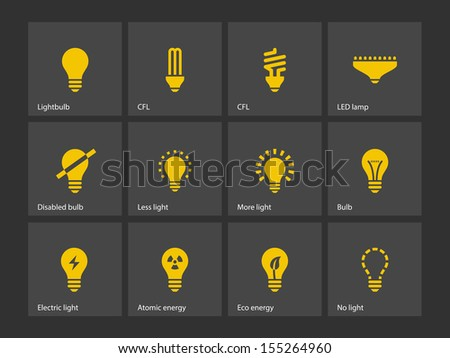 Light bulb and CFL lamp icons.  - stock photo