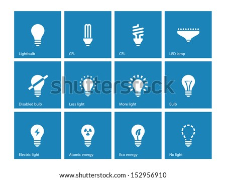 Light bulb and CFL lamp icons on blue background. See also vector version.
