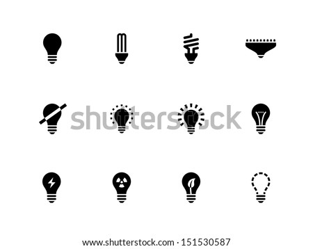 Light bulb and CFL lamp icons on white background. See also vector version.