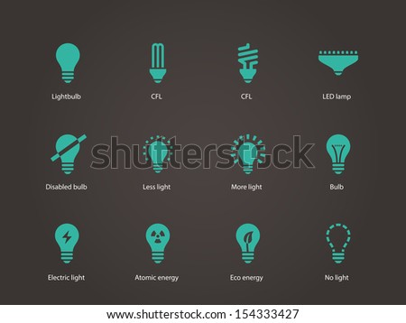 Light bulb and CFL lamp icons. See also vector version.