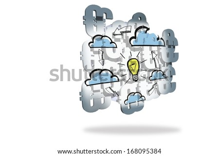 Light bulb and clouds on abstract screen