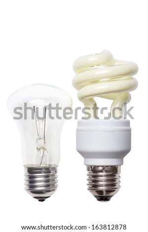 light bulb and energy-saving lamp isolated on white background - stock photo