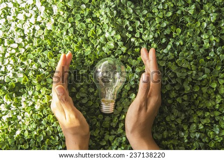 Light bulb and hand with green background - stock photo