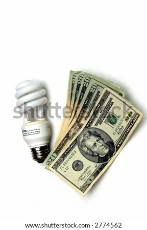 Light bulb and notes isolated on the white background