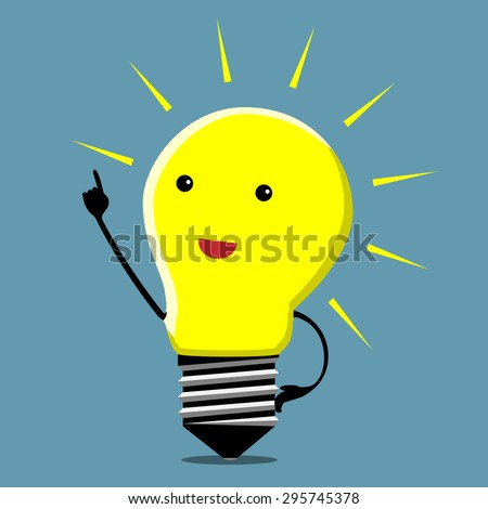 Light bulb character in moment of insight - stock photo