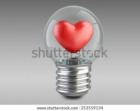 light bulb concept with a red heart. High resolution 3d illustration - stock photo
